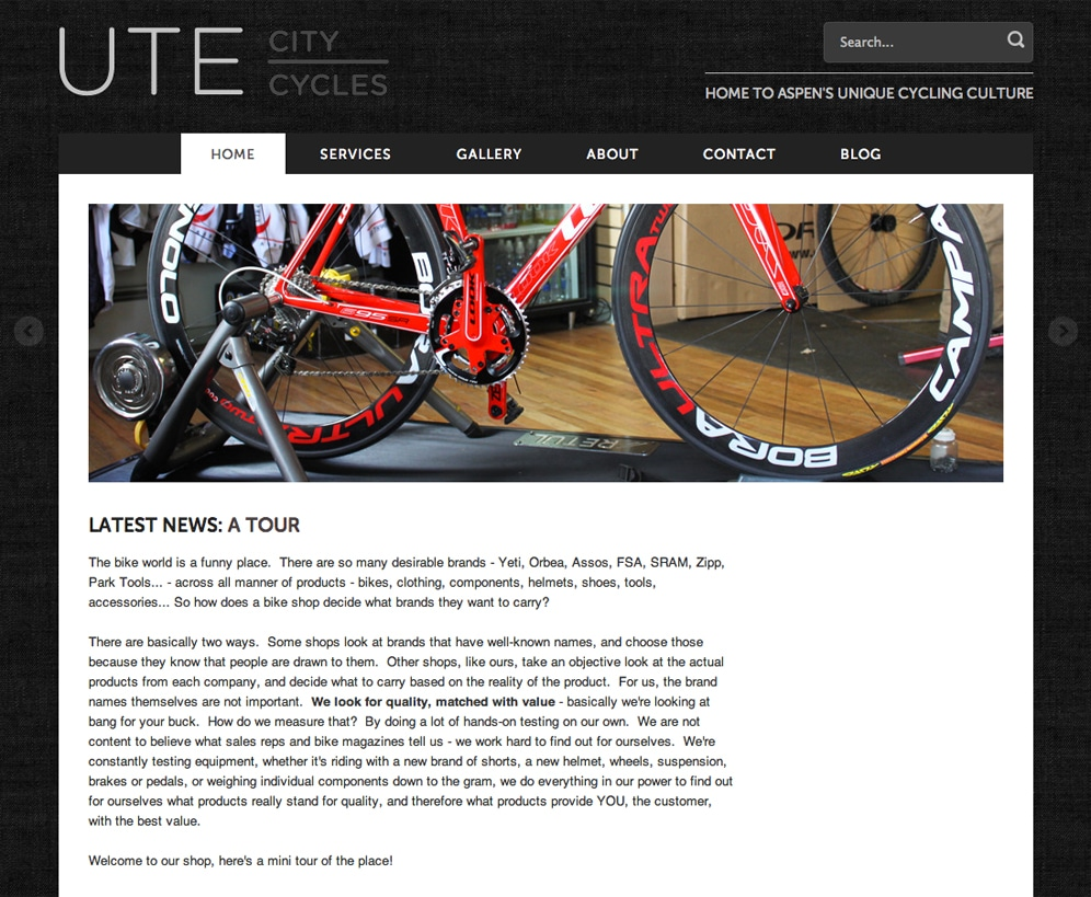 Ute City Cycles website, in Shopify, after our redesign