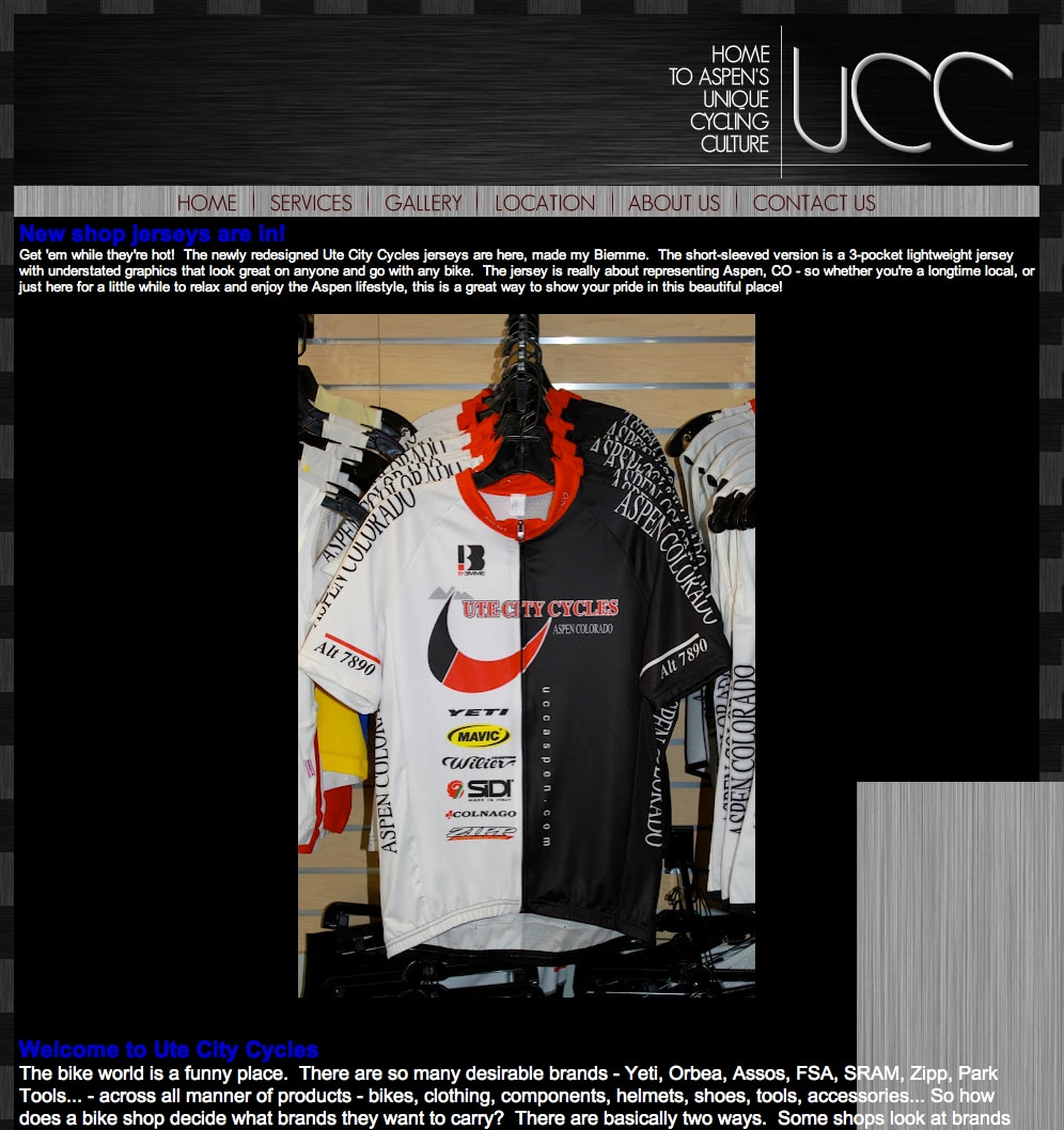 Ute City Cycles website before our redesign