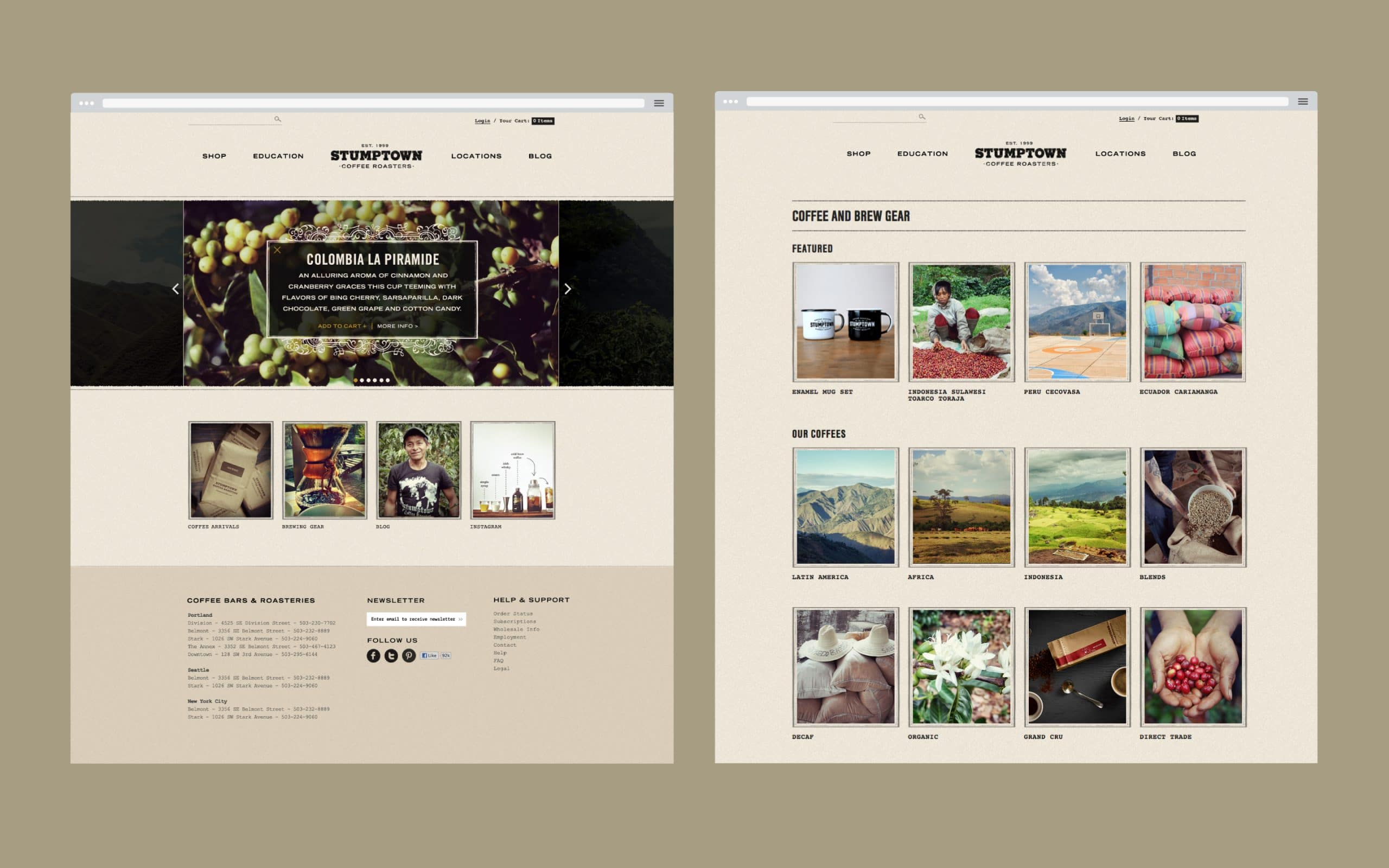 Stumptown Homepage on Desktop