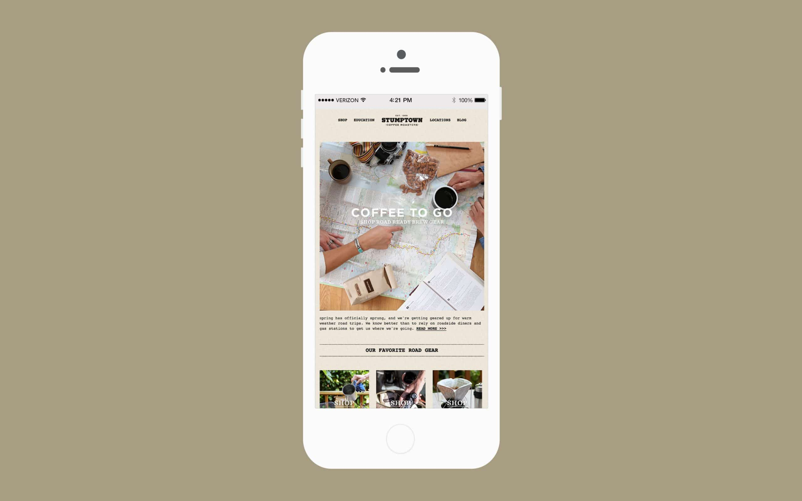 Stumptown Newsletter on iphone