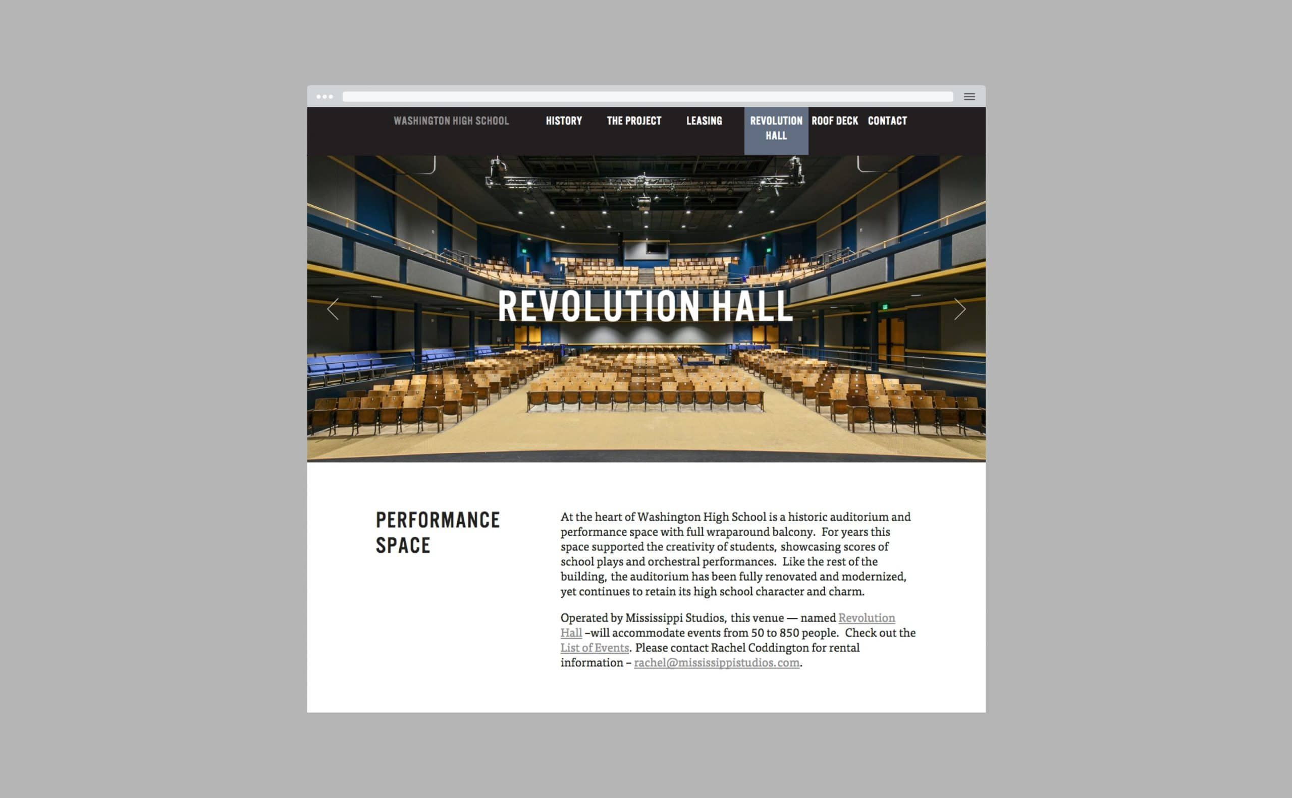 Washington HS Revolution Hall on iPad