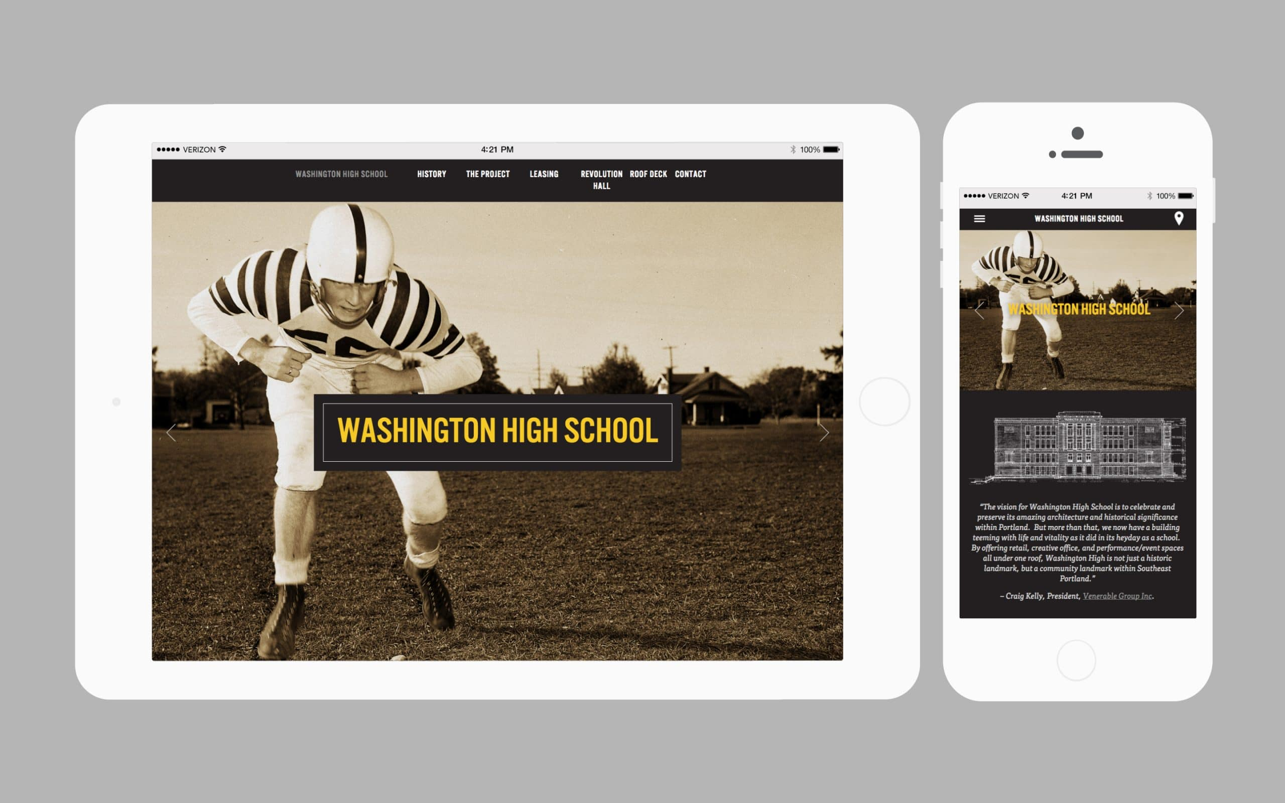 Washington HS homepage on iPad and iPhone