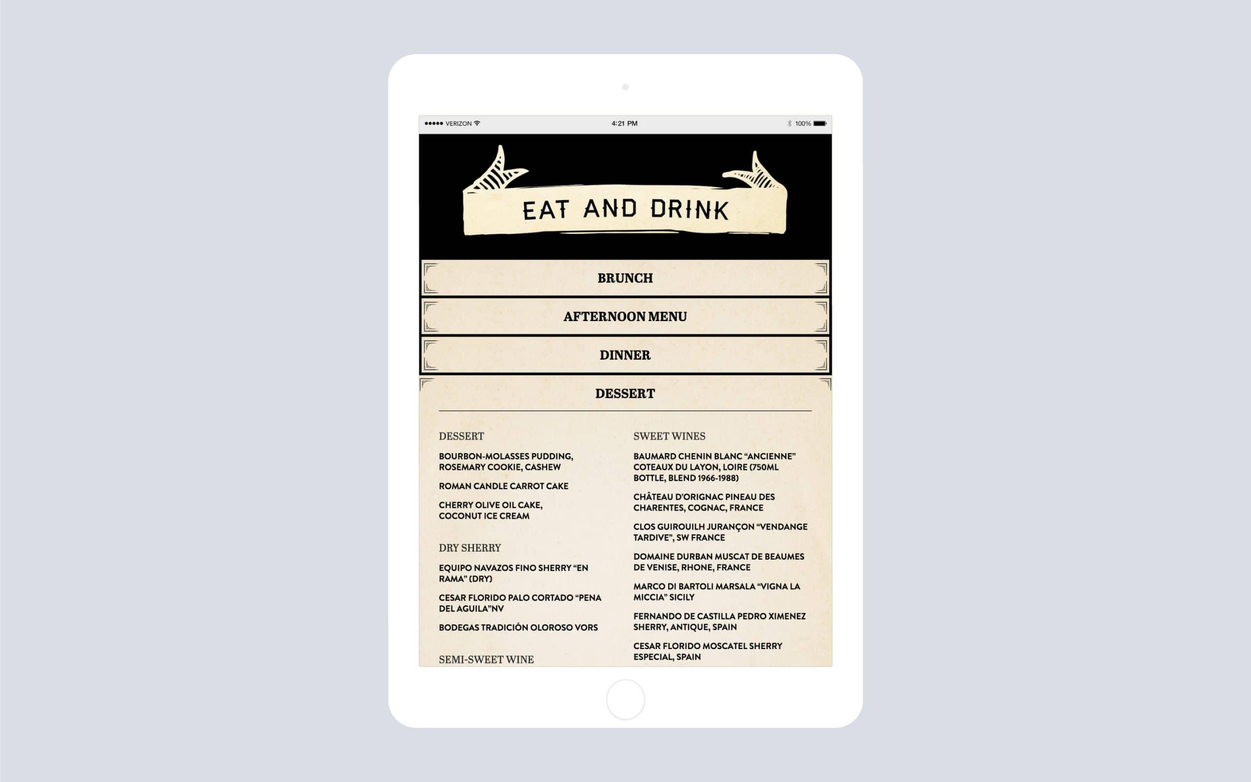 Woodsman Tavern website menu on iPad
