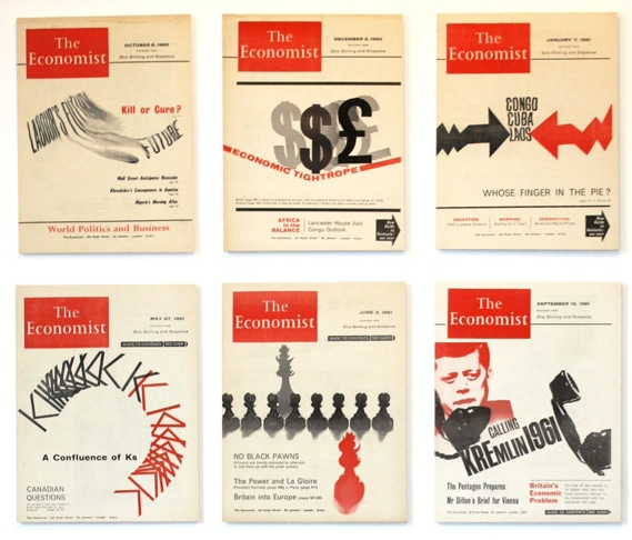 Samples of Romek Marber's covers for The Economist, often done on a short schedule, and always limited to two colors of ink.