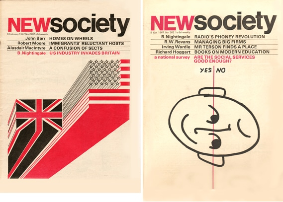 Marber had also worked on New Society covers, which had more time. The style is similar, however, with the same limited color palette.