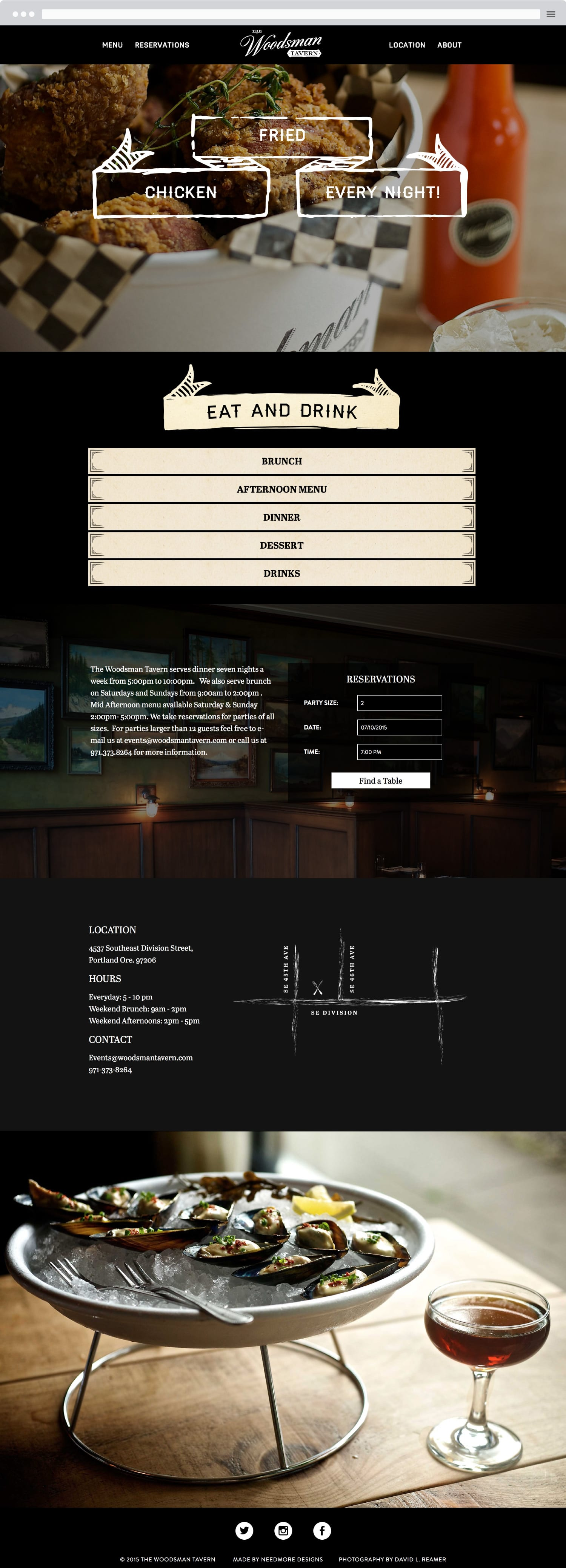 Woodsman Tavern website redesign
