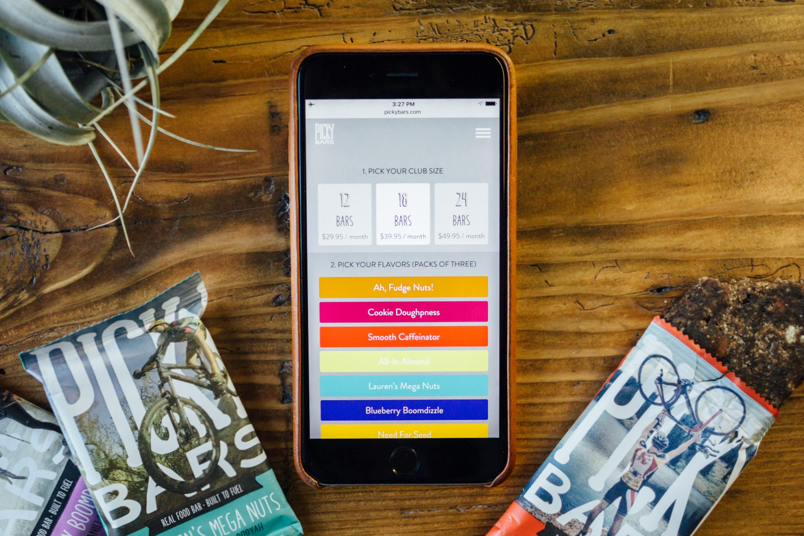 Picky Bars subscription sign-up on the iPhone