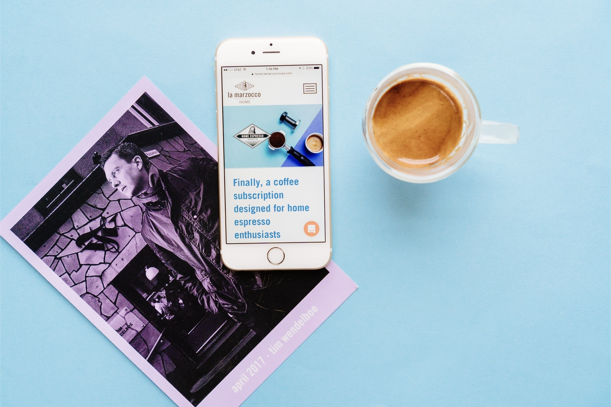 La Marzocco Home Subscription landing page and coffee card by Needmore Designs