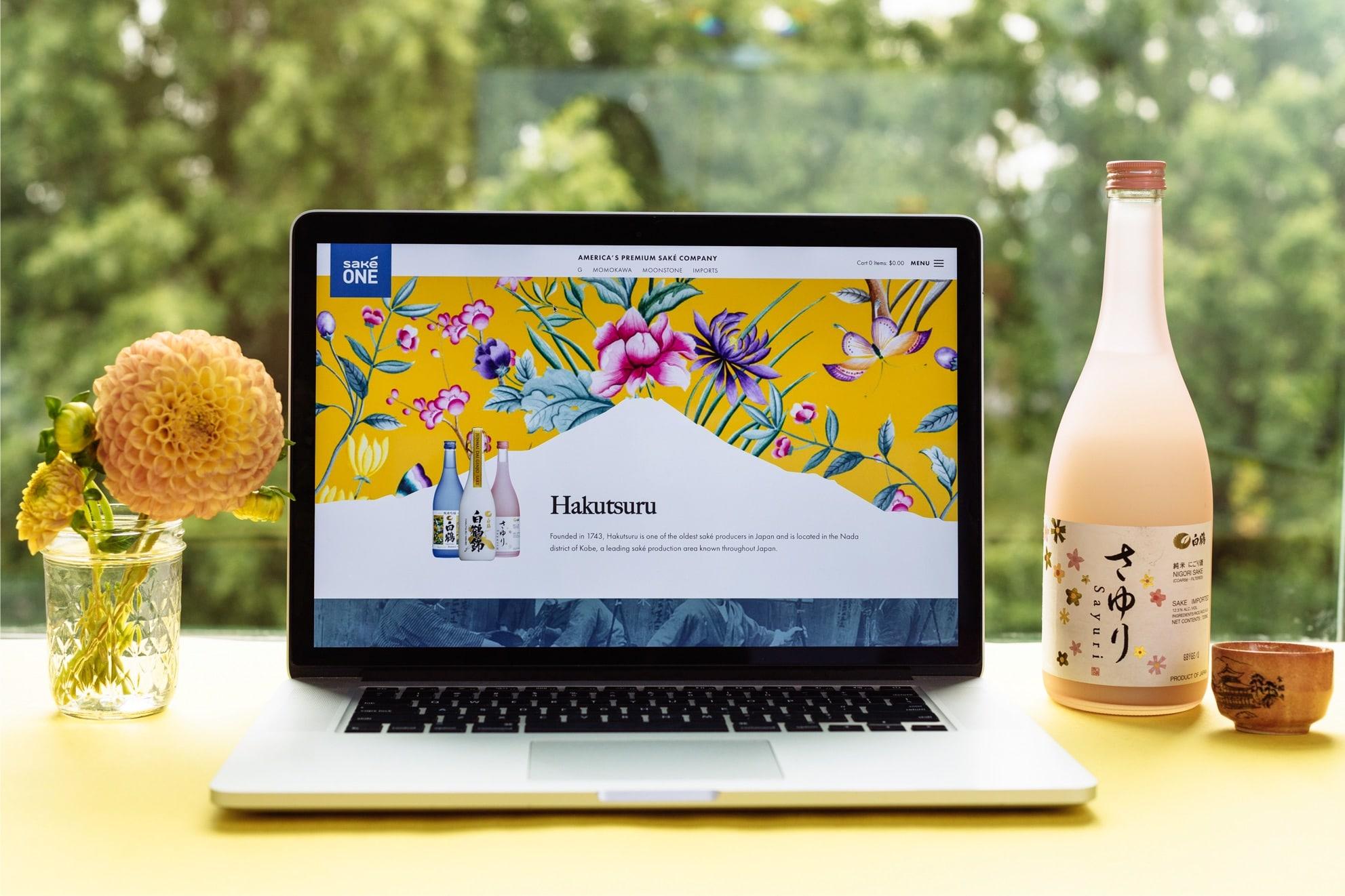 SakeOné's Hakutsuru's brand landing page