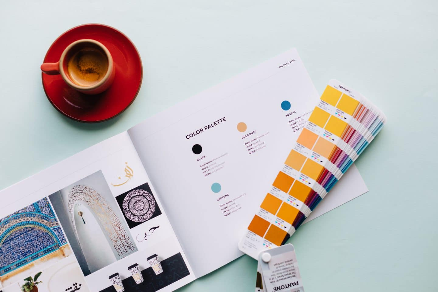 Stanza coffee brand book focusing on colors