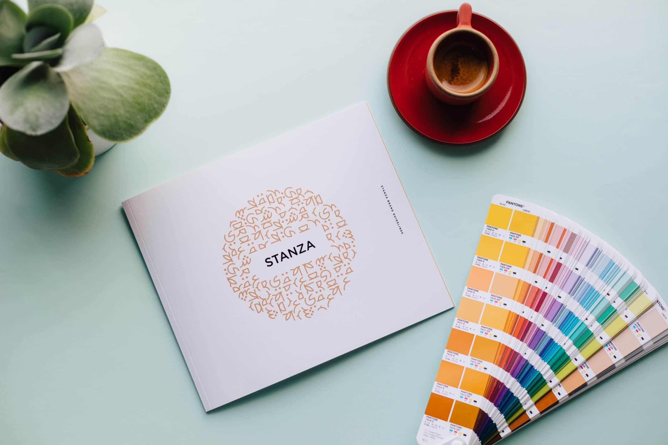 Stanza Coffee brand book cover with logo design