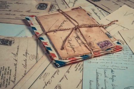 Vintage envelope stack with letters