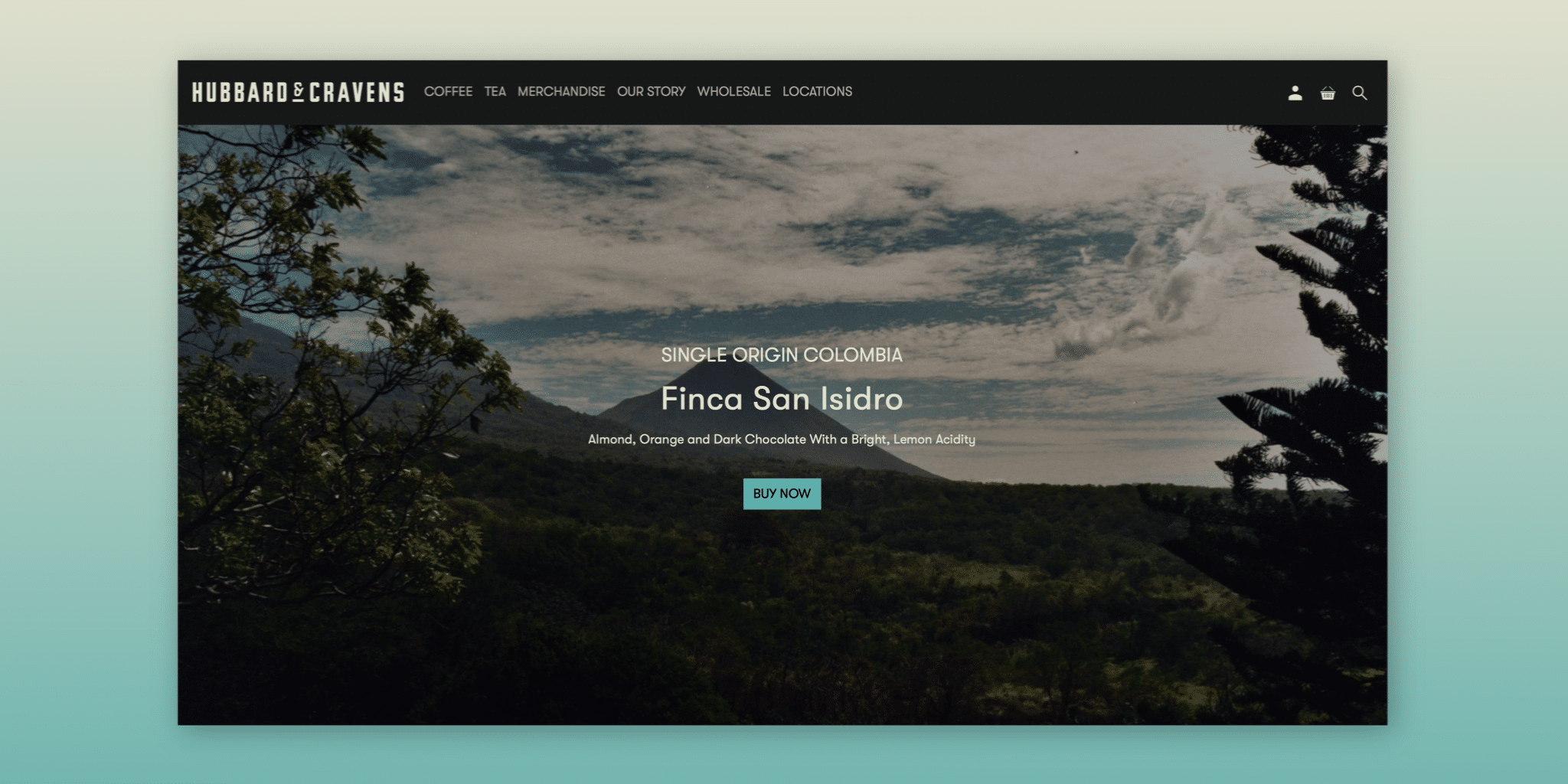home page of the new website featuring the backdrop of Finca San Isidro