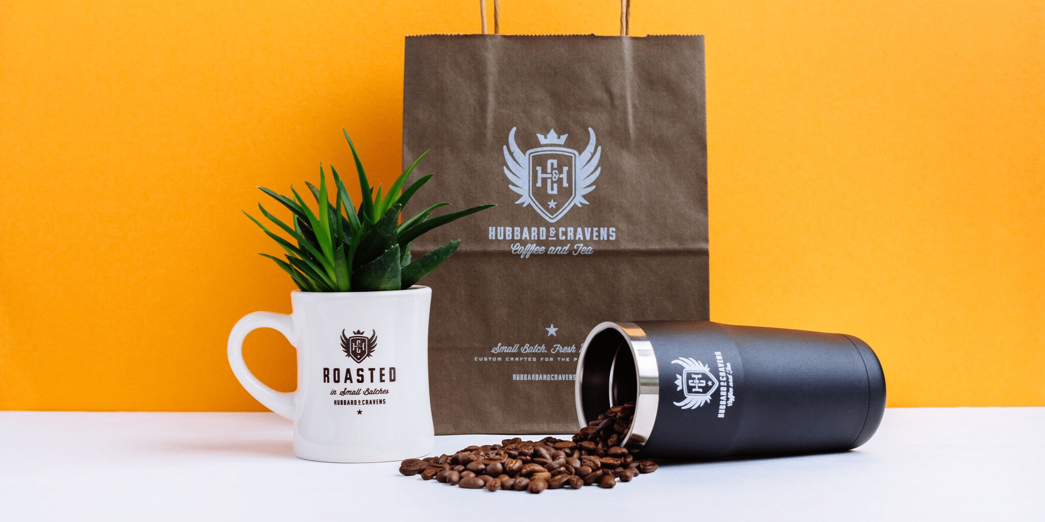 coffee schwag on a vibrant yellow background