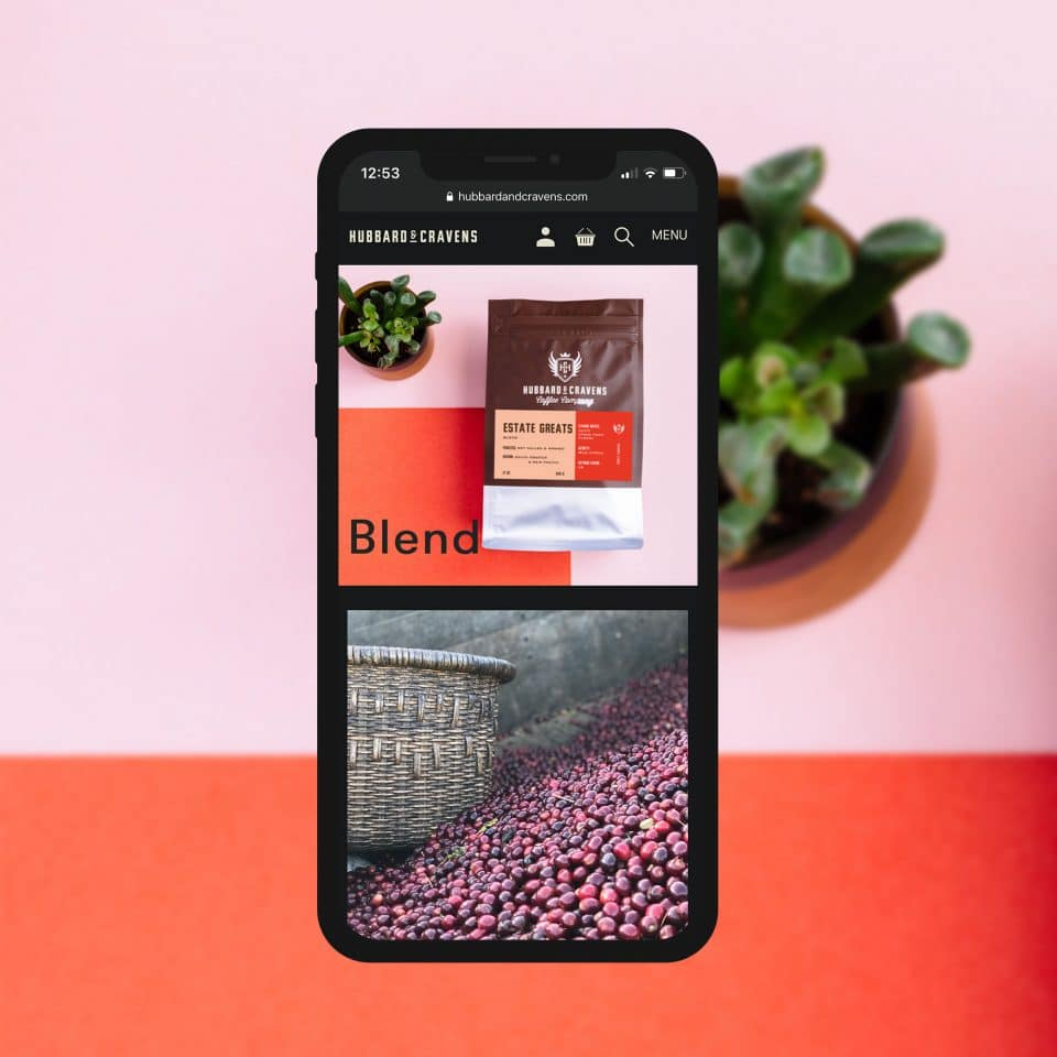 blends page on an iPhone