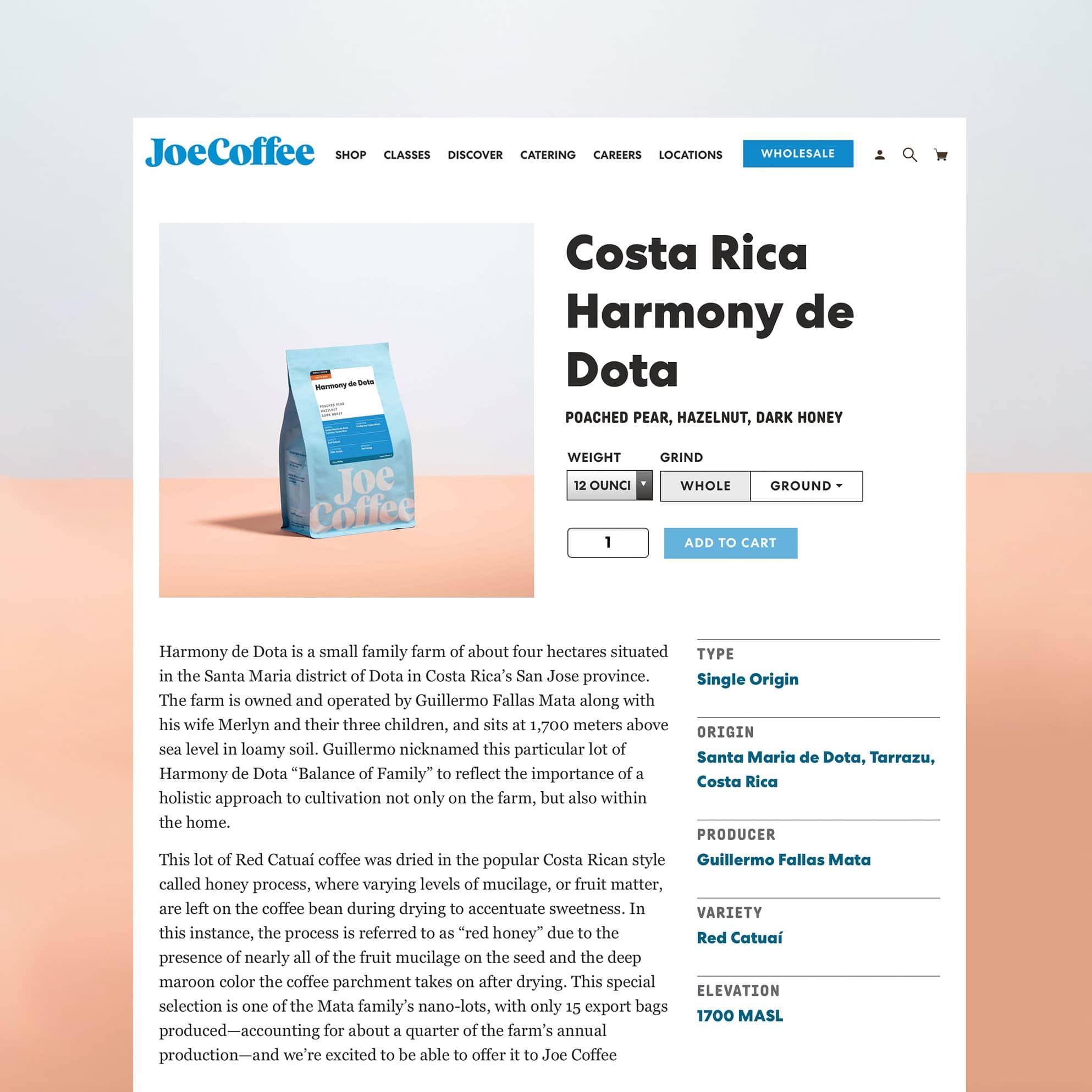 Costa Rica Harmony de Dota product page