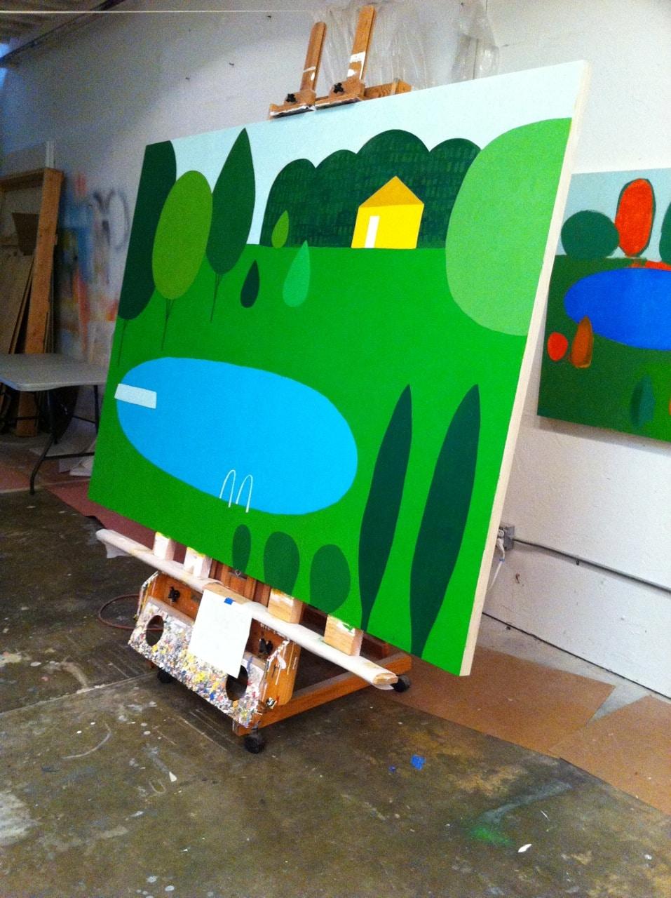 Backyard Painting by Lisa DeJohn