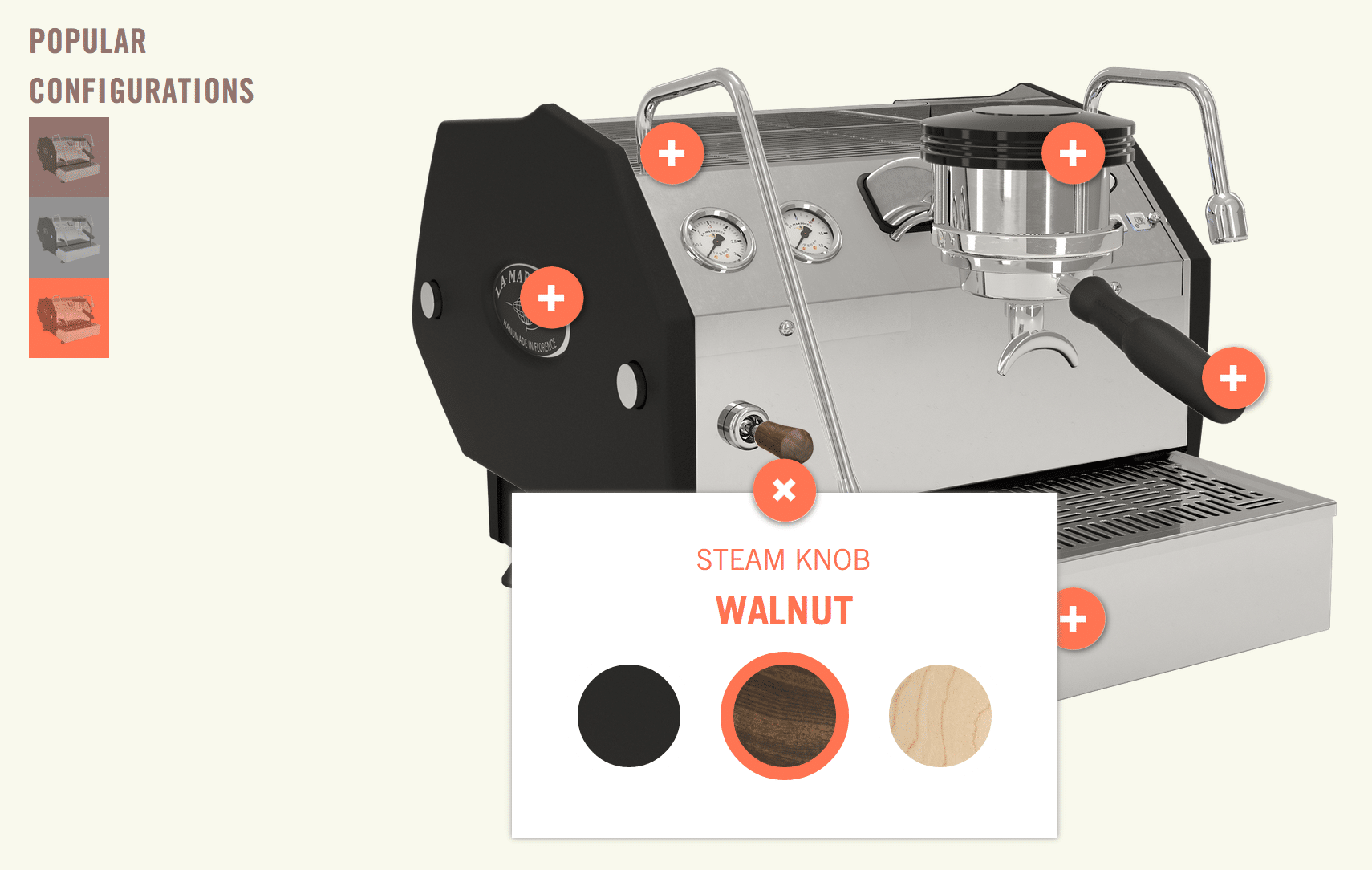 GS3 configurator on La Marzocco website