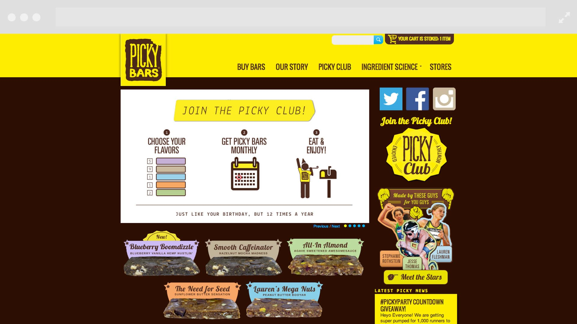 Picky Bars website before